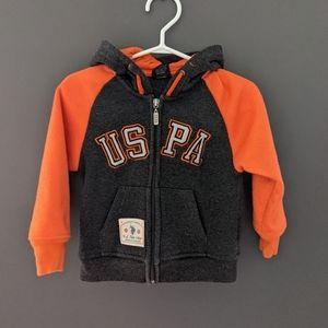Grey & orange zip up hoodie